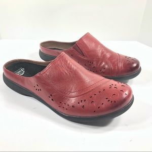 ABEO Edith Red Leather Slip On Mules Laser Cut 11N